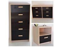 Brand new light oak/black gloss set of chest of drawers