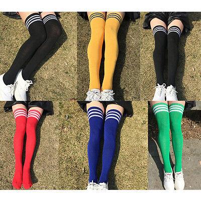 Damen Fußball Schiedsrichter Streifen Kniestrümpfe Sport Kostüm Lange Socken  ()