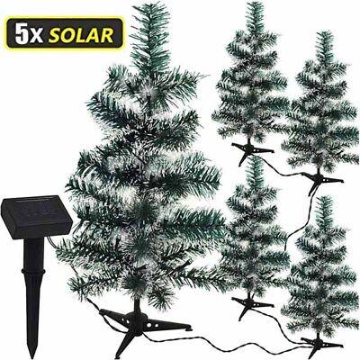 Set 5 Alberi Natale 47 cm Verde Ricarica Solare 50 Luci LED Bianco Ghiaccio