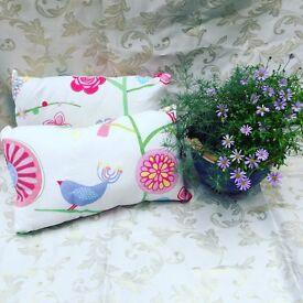 Hand made bird and flower cushions