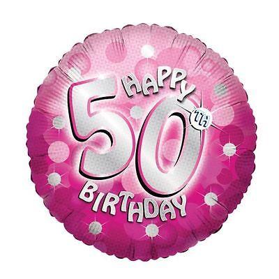 Rosa Glänzend Froh 50th Birthday 45.7cm Helium Folienballon (50th Birthday Party Dekorationen)