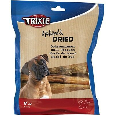 Trixie Pet Dog 12cm Natural Dried Bull Pizzle Pack Of 8 Dental Chew Treats 100g