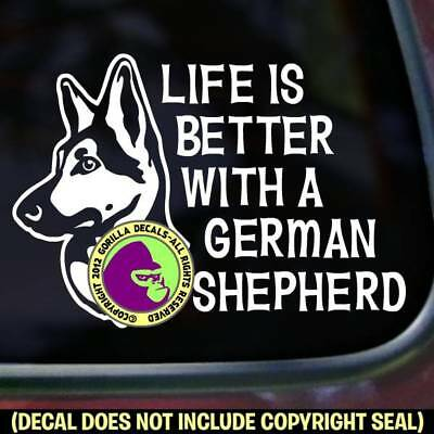 LIFE IS BETTER GERMAN SHEPHERD Vinyl Decal Sticker Breed Dog Car Window