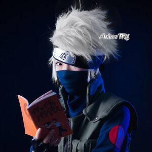 Naruto Perücke Hatake Kakashi SOUL EATER Cosplay +Haarnetz Anime Silber&Weiß Neu