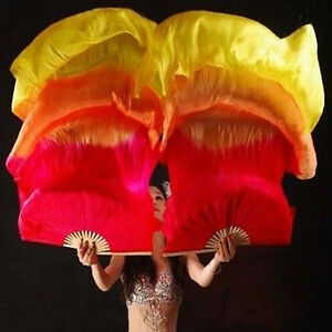 2PCS 1.8m Hand Made Belly Dancing Bamboo Long Silk Fans Veils Dance Fan
