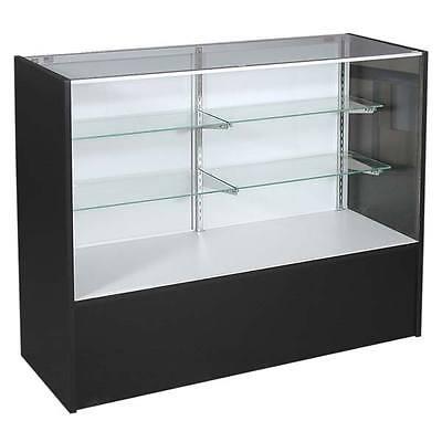 Full Vision Showcase With Light In Black Aluminum Frame 70 Inch Long