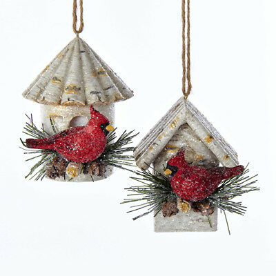 Cardinal on Birch Birdhouse - Cardinal Ornaments