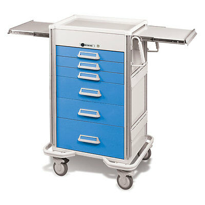Steel Procedure Cart 6 Aluminum Drawers Push Button Lock 47.25h Crash Cart Blue