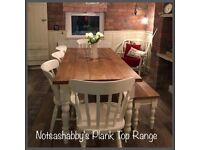 BEAUTIFUL 6FT PINE PLANK TOP EFFECT FARMHOUSE TABLE BENCH AND CHAIRS