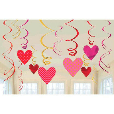 Red Heart Hanging Swirl Decorations ~ Valentine, Wedding Party Supplies ~ 12ct. (Valentines Supplies)