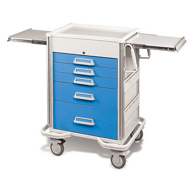 Steel Procedure Cart 5 Aluminum Drawers Key Lock 40.625h Crash Cart Blue