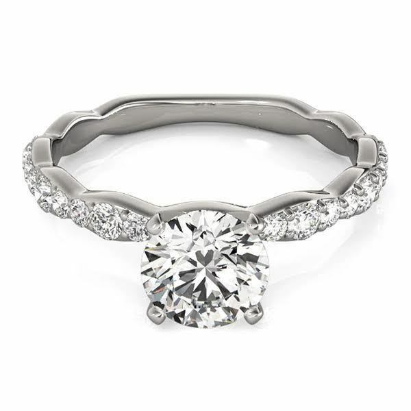 1.40ctw Natural Round Cut Curved Shank Diamond Engagement Ring - GIA Certified