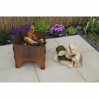 Made O' Metal Interlocking Folding Corten Steel Rustic Garden Fire Pit BBQ Grill