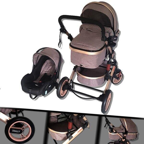 Kinderwagen Alu 3in1 Kombi Kinderwagen Autositz Buggy Koplettset Coffee-Leinen 1