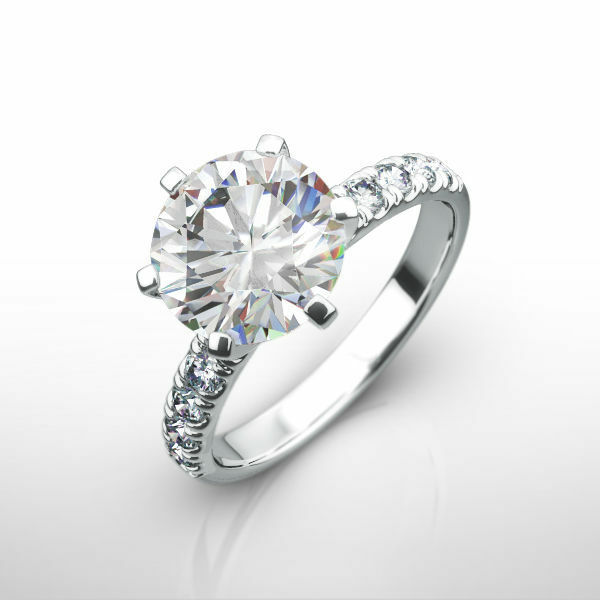 Diamond Round Ring 18k White Gold Women Flawless Vs1 3 Carat Accents Estate