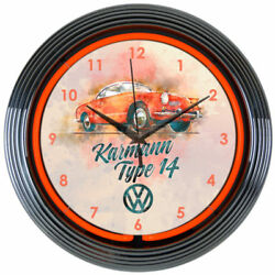VOLKSWAGEN VW KARMANN GHIA Red 15 Neon Clock Neonetics 8VWKRM NEW Man Cave LOOK