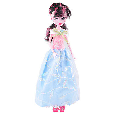 Doll accessories Doll Clothes pink dress Set For monster high school doll v12