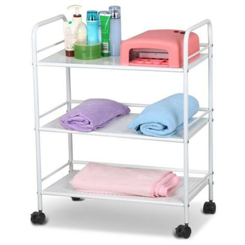 Details about 3/4 Hair Drawers Mental Salon Trolley White Rolling Cart