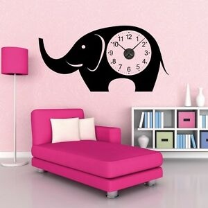 sticker mural horloge g ante elephant pour enfant m canisme aiguilles ebay. Black Bedroom Furniture Sets. Home Design Ideas