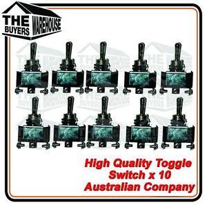 10pc 12V Heavy Duty Toggle Switch ON/OFF Light Metal SPST 12V 24V Australian