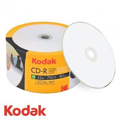 50 Kodak Blank CD-R CDR 52x White Inkjet Hub Printable 700MB 80MIN Media Disc