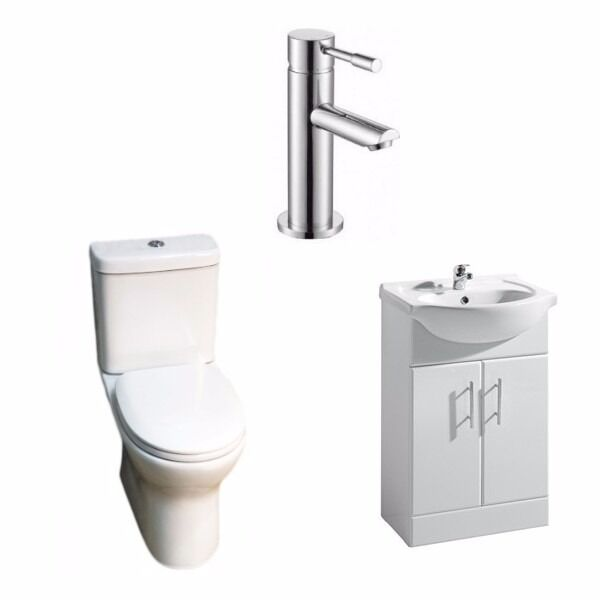 Paris Vanity Unit, Libra Rimless Toilet & L-series Tap Bathroom Suite Deal