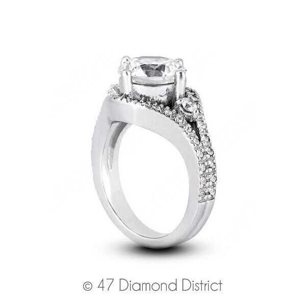 0.86ct Tw G-vs2 Round Cut Natural Certified Diamonds 18k Gold Side-stone Ring