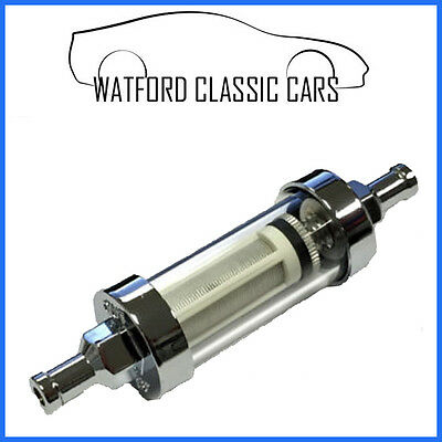 Clear washable glass and chrome fuel filter 5/16 - 8mm