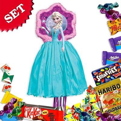 Elsa-Pullpinata/Zugpinata im Set +Süßigkeitenfüllung f. Spiele Geburtstag