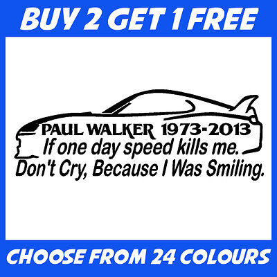 Paul Walker 2 ANY COLOUR JDM Euro Drift Car Bumper Sticker Window Vinyl Decal