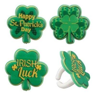 24 Lucky Irish Cupcake Rings Topper Irish Green Saint Patricks Kiss (Irish Topper)