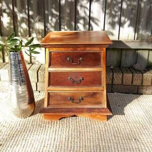 Rustic Vintage Teak Bedside Table With Three Drawers Coogee Eastern Suburbs Preview