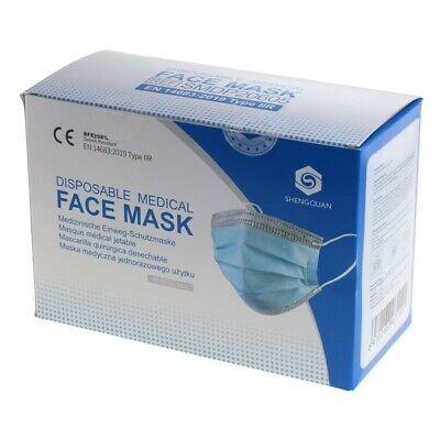 50x Mundschutz Medizinische 3-lagige Einweg-Gesichtsmaske Typ IIR
