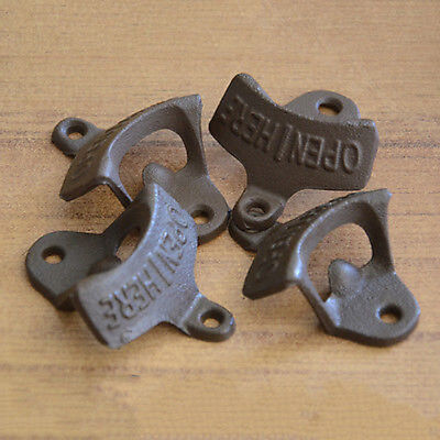 Open Here Cast Iron Cool Wall Mount Bottle Opener Western Rustic Brown VH