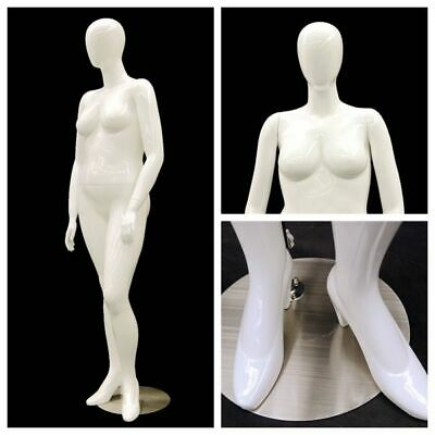 Female Adult Plus Size Womens Glossy White Egg Head Mannequin Stylishly Posed