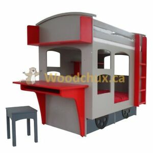 ♥‿♥ .. CABOOSE themed Twin Bunk Bed w/ Study Desk .. ♥‿♥