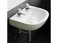 RAK 600 sink, white, double tap - Brand new boxed and unused - Belfast ceramic
