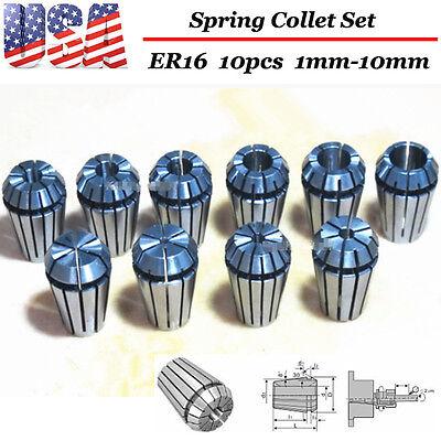 ER16 10PCS 1-10mm Spring Collet Set For CNC milling lathe tool Engraving machine