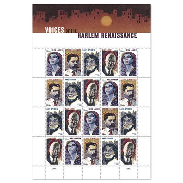 USPS New Voices of Harlem Renaissance Pane of 20