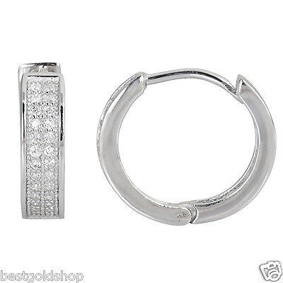 Diamonique CZ Micro Pave Huggie Hoop  Earrings AntiTarnish Real 925 Silver ()