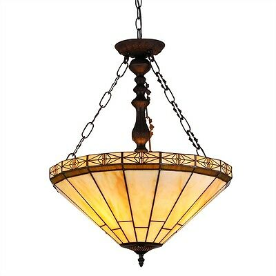 Tiffany Style Mission Stained Cut Glass Inverted Pendant Hanging Ceiling Light  Cut Glass Ceiling Light