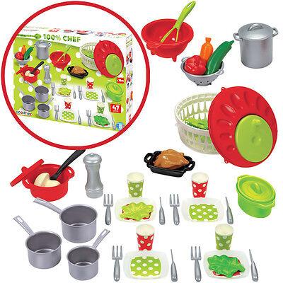 Ecoiffier 47-teiliges Küchenzubehör Töpfe Geschirr Spielzeug Kinderküche Küche