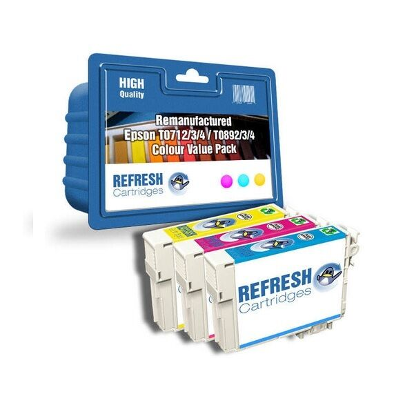 REMANUFACTURED (NON GENUINE) T0712/3/4 INK CARTRIDGES FOR EPSON STYLUS PRINTERS