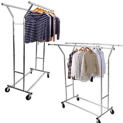 High Quality Steel Adjustable Clothing Rolling Double Garment Rack Hanger Holder
