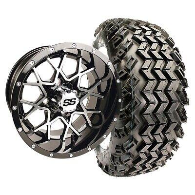 "Golf Cart 14"" Vortex Wheels & 23"" All Terrain Duro Desert Tires - Set of 4"