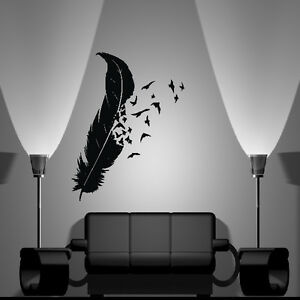 wandtattoo feder wandtattoos wandbilder ebay. Black Bedroom Furniture Sets. Home Design Ideas