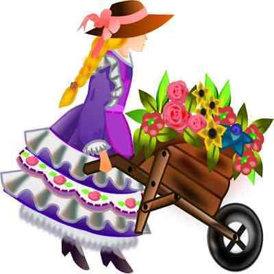 30 Custom Lady With Flower Wheelbarrow Personalized Address Labels