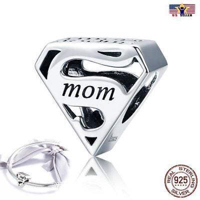 925 Sterling Silver Super Mom Mama Pandora Charm Bead Bracelet DIY Mothers Day