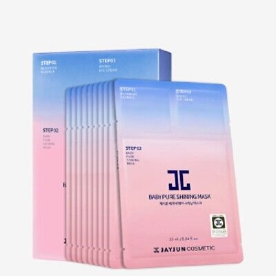JayJun Baby Pure Shining 3 Step Facial Mask w/ Essence & Eye Cream Pack 10pcs
