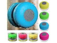 Waterproof wireless bluetooth speakers handsfree mic suction car / bathroom shower.